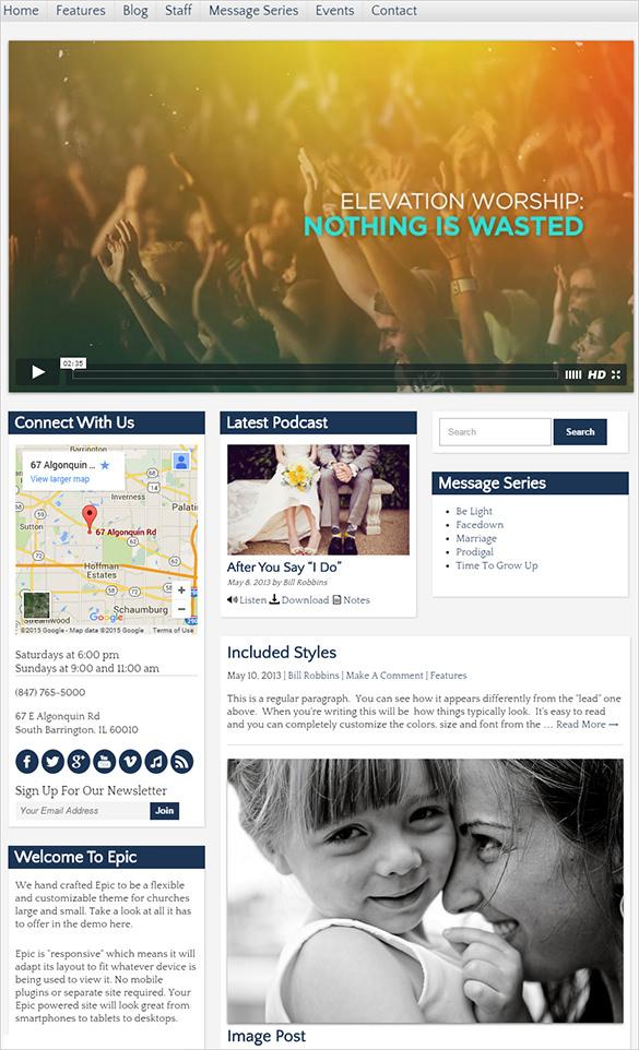 epic church website template