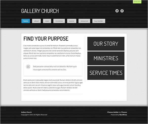 gallery church website theme