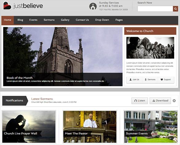 church website responsive template