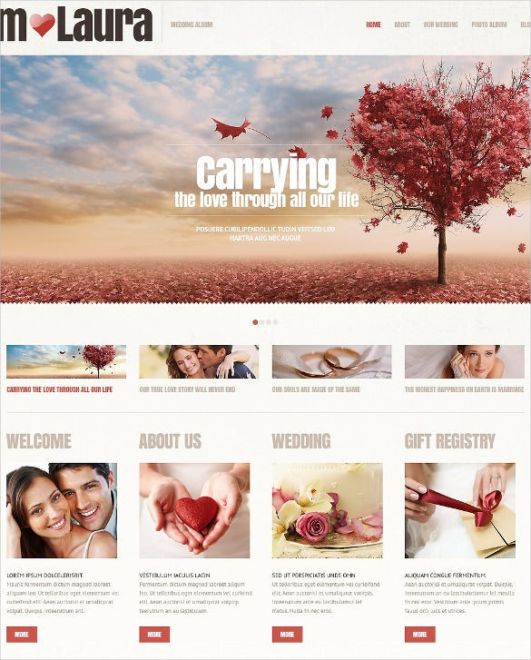 wedding album wordpress website template