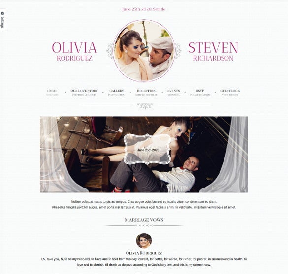 beautiful wedding event website template