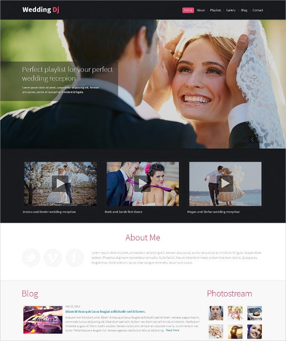 responsive wedding planner wordpress website template