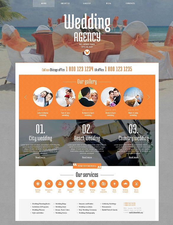 wedding planner wordpress website template