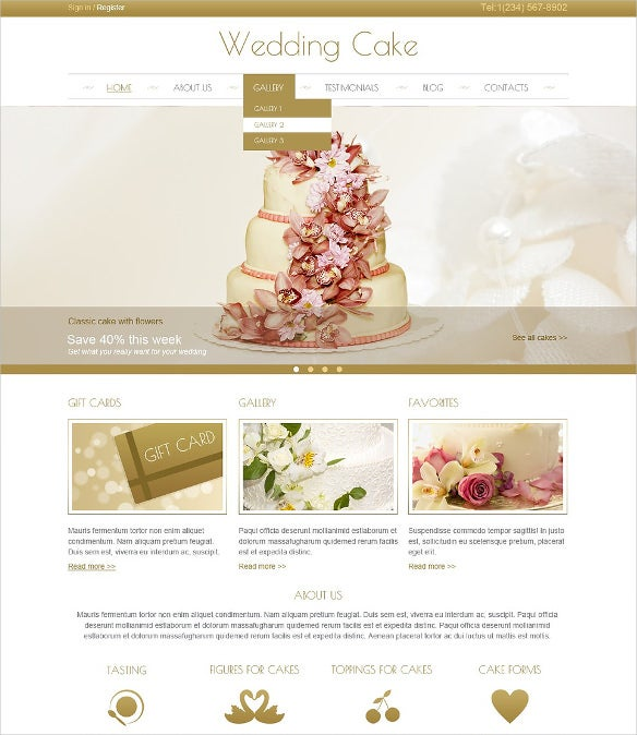 cream wedding cake joomla theme