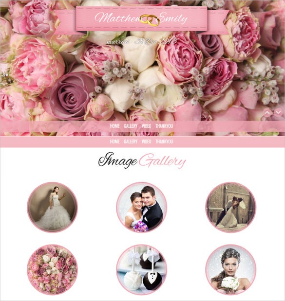 parallax responsive wedding website template