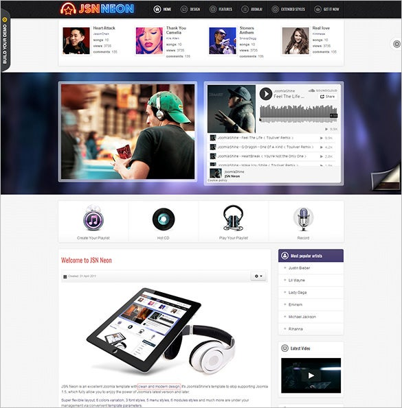 joomla music theme jomsocial support