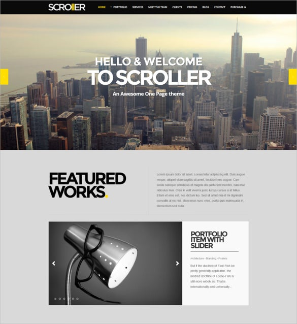 parallax scroll responsive wordpress theme