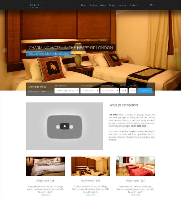 clean hotel business html5 template