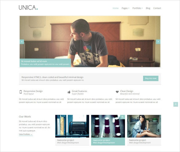 unica minimal responsive html5 template