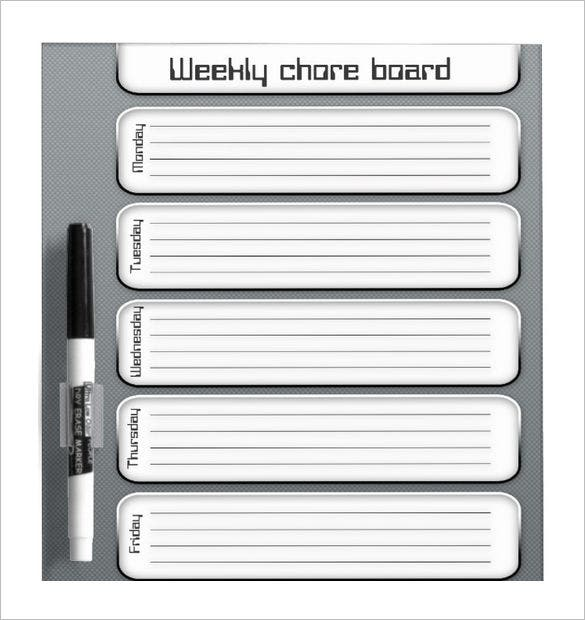 printable weekly chore board template