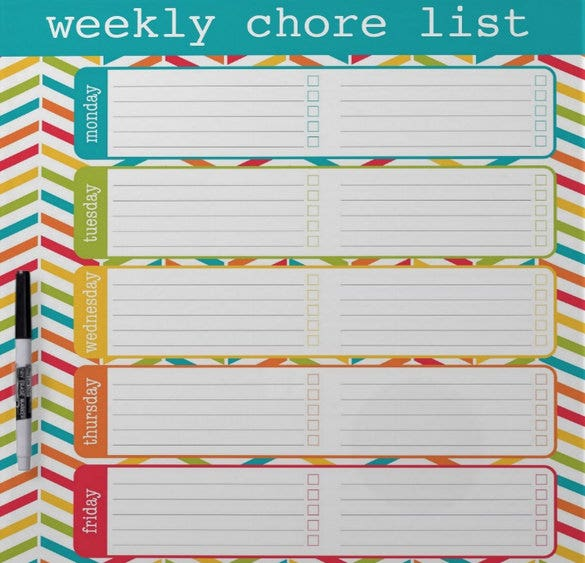 weekly chore list free download