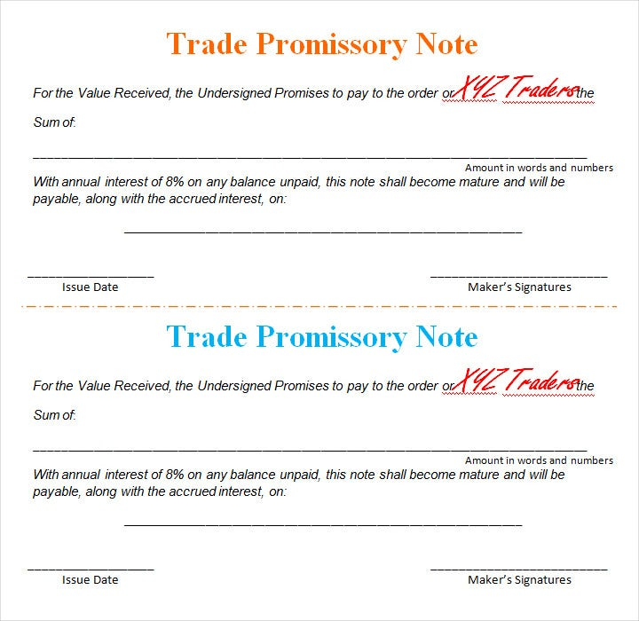 sample promissory note template1