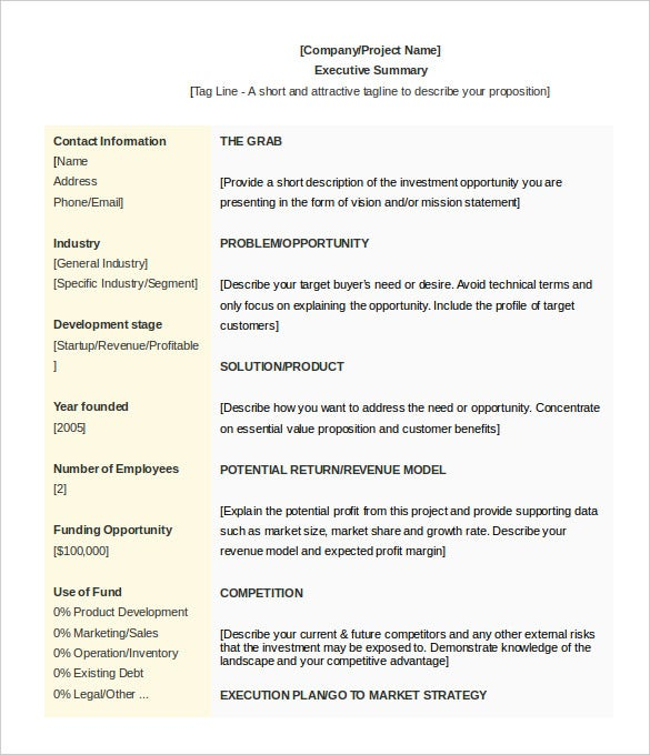 professional executive summary template koni polycode co