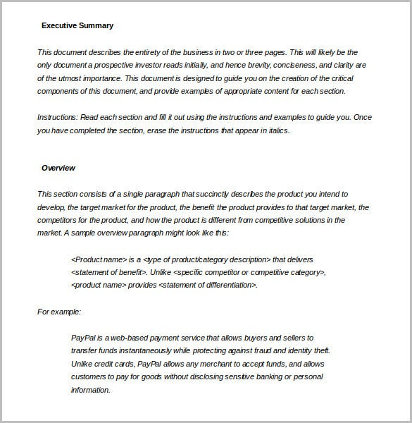 executive summary template word doc download
