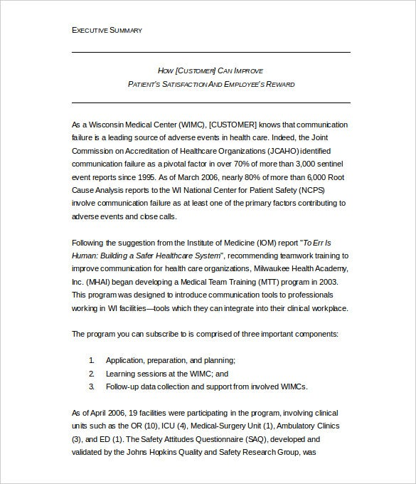 Executive Summary Template Example Word Format Free Intended Executive Summary Formats