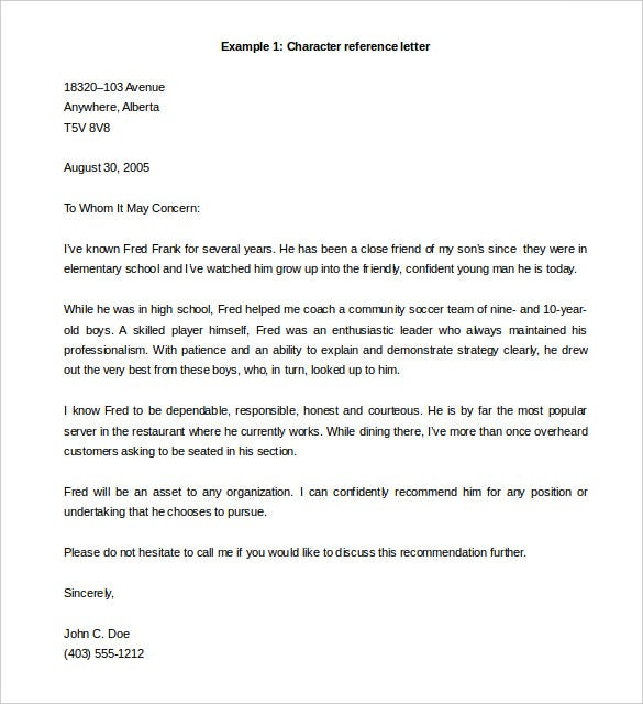 Reference Letter Template 39 Free Sample Example Format – Format for Character Reference Letter