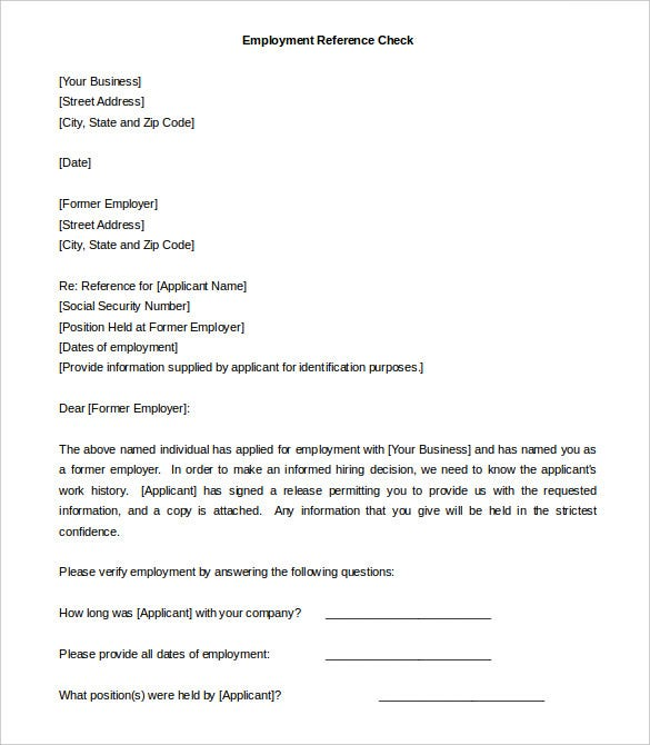 Employer Reference Check Letter Template Sample Download  Sample Cover Letter Template