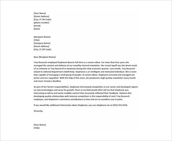 28+ Reference Letter Template – Free Sample, Example Format Download ...