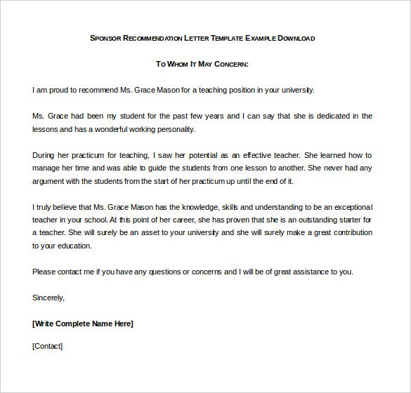 sponsor recommendation letter template example download