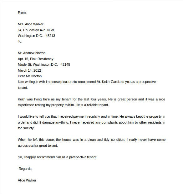 download sample tenant recommendation letter in word format