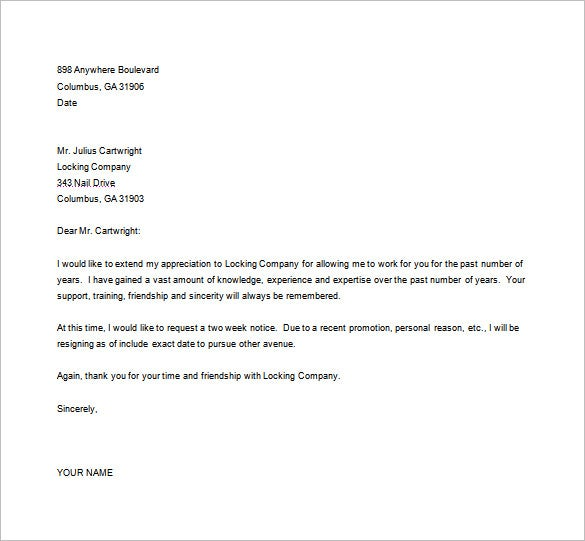 Word Resignation Letter Template  Letter Of Resignation Template Word