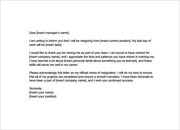 Resignation Letter Templates  Free Word Excel Pdf Ipages
