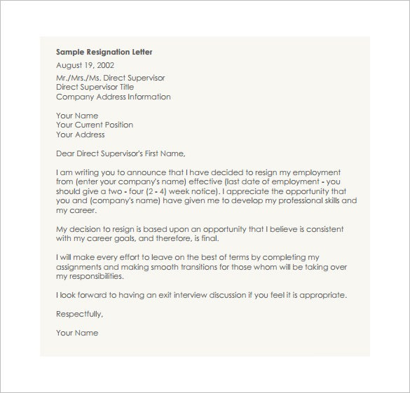 Sample Resignation Letter Resignation Letter Template For A