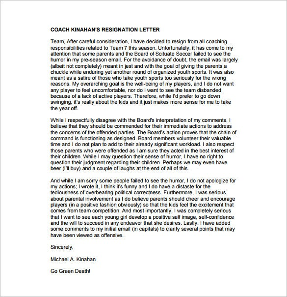 26 resignation letter templates free word excel pdf ipages sports resignation letter pdf free download spiritdancerdesigns Image collections