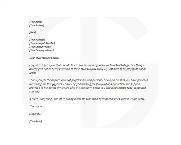 Resignation Letter Template 28 Free Word Excel PDF Documents – Resign Letter Format