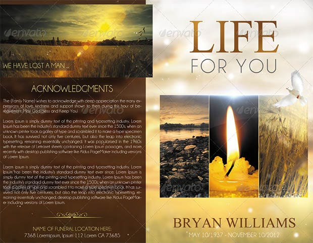 20 funeral program templates free word excel pdf psd for Free celebration of life program template