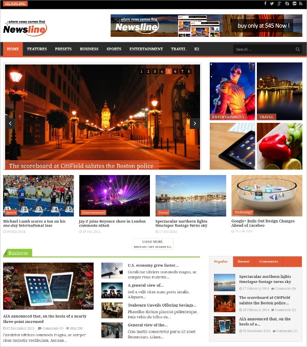 Responsive Magazine Joomla Website Template $48
