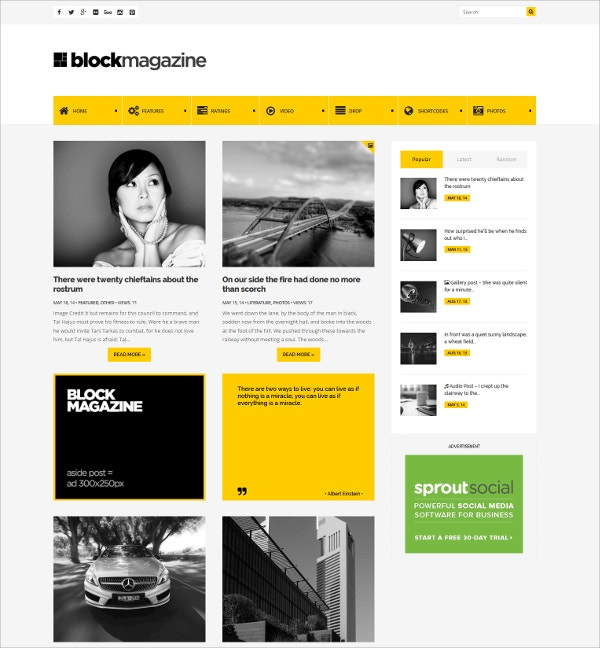 Minimalist Blog Magazine Website Theme $49