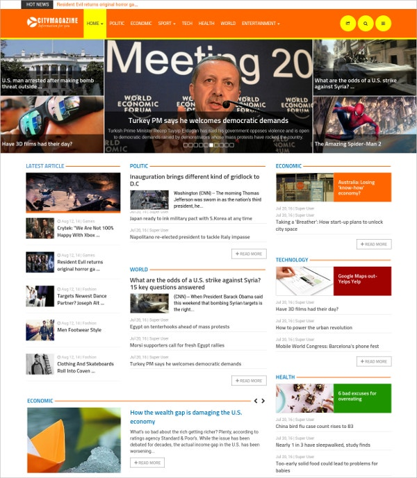 Joomla Magazine Website Blog Theme $48