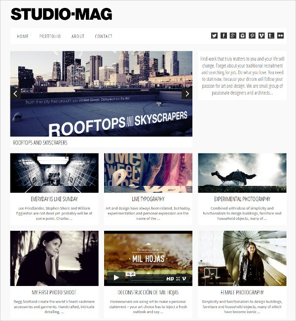 Creative Portfolio Magazine Website Theme $39