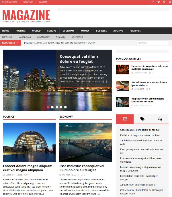 Responsive Magazine WordPress Website Theme $49