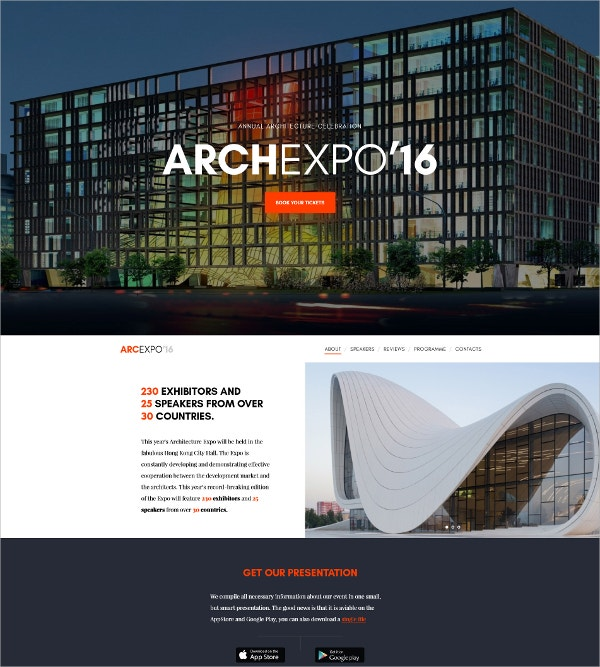 Architecture Celebration Website Template $75