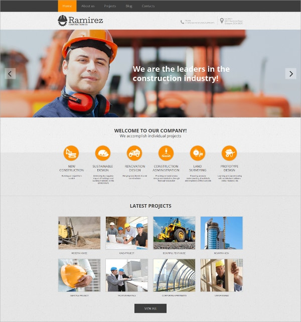 Construction Industry HTML Website Template $139