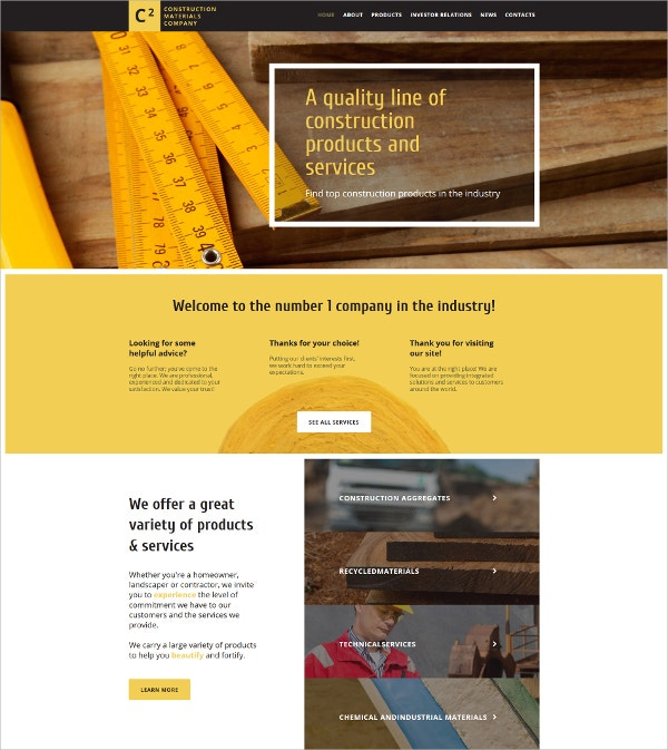 Construction Material Company Website Template $139