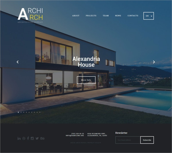 20 architects website themes templates free premium for Web page architecture