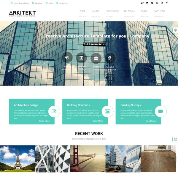 Architecture Building WordPress Website Theme $49