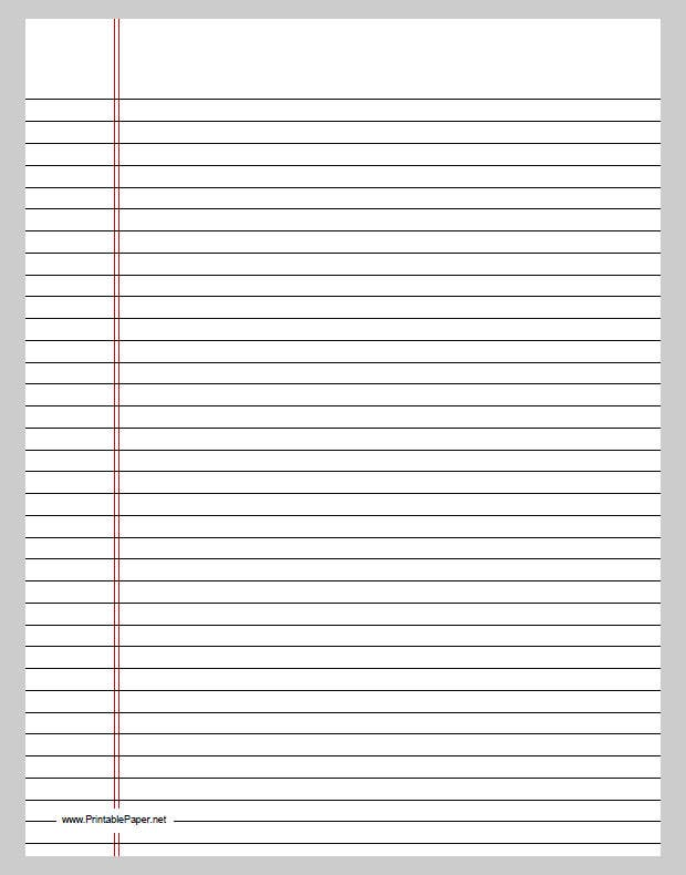 This Template Is The Simple Black Line Ruled Paper With Double Red Margin.  It Can Be Printed For Any Theoretical, Educational And Academic Work.  Print Loose Leaf Paper
