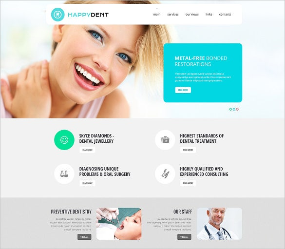 happy dental responsive website theme
