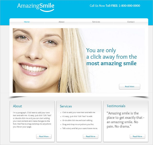 amazing smile dentist website template