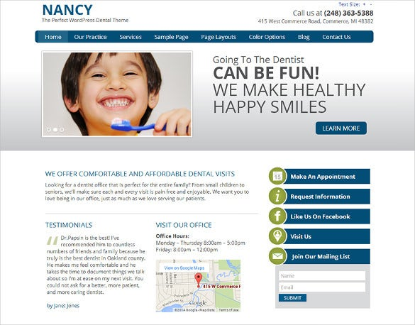 simple dentist wordpress website theme