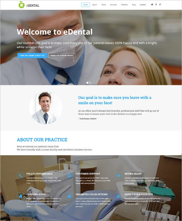 dentist parallax responsive one page website theme