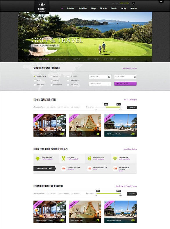 online travel agency website template