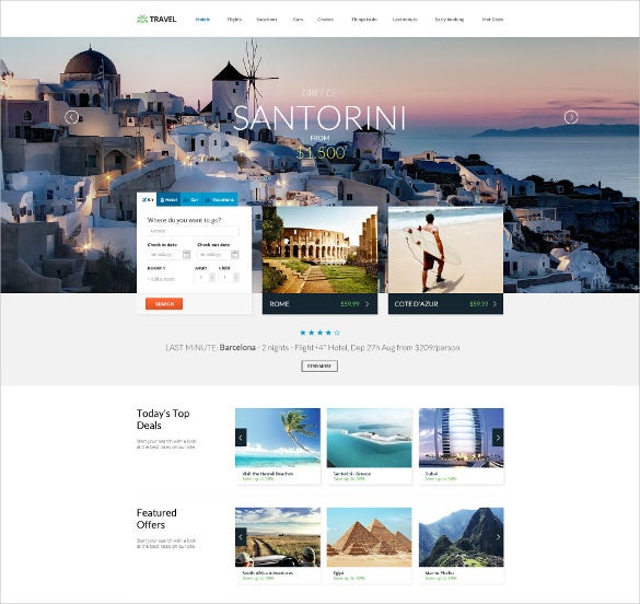 Best premium travel agency templates top free themes for for Agence reservation hotel