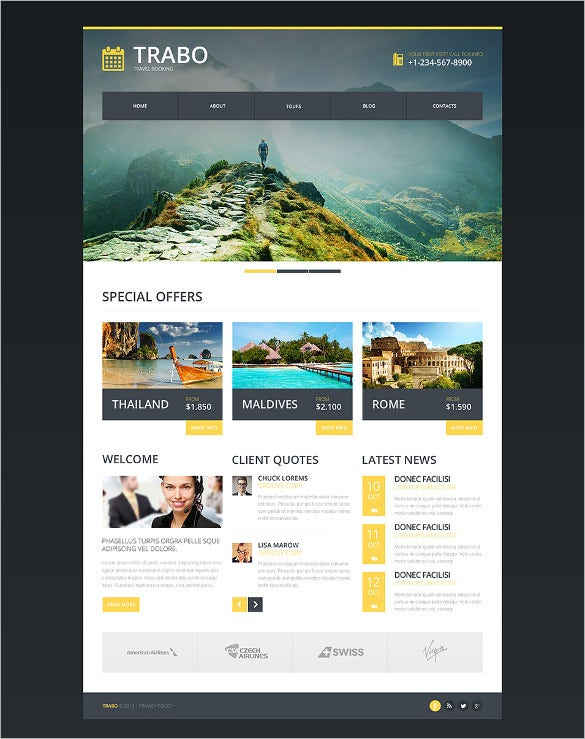 Best Premium Travel Agency Templates, Top Free themes for Travel ...