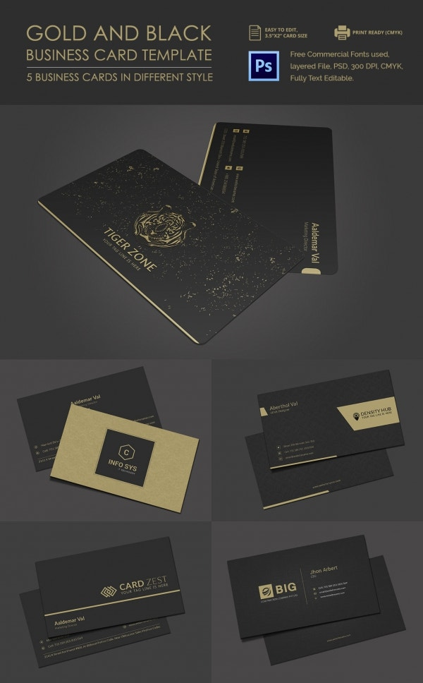 40 excellent black business cards to download free premium black and gold psd business card vol 1 goldandblackbusinesscard reheart Choice Image