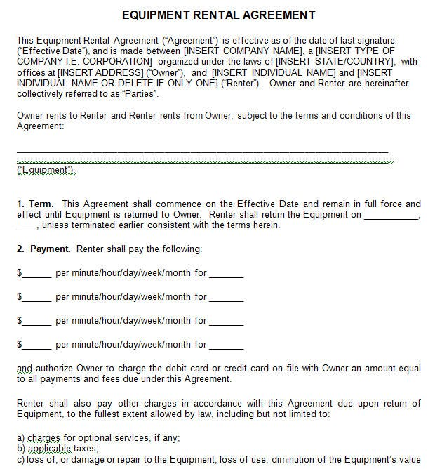 13 best rental agreement templates doc pdf free for Professional organizer contract template